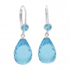 Multi Shape Blue Topaz Lever Back 25 Cts Tear Drop Style Earrings