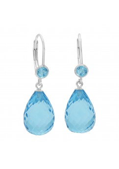 Multi Shape Blue Topaz Lever Back 25 Cts Tear Drop Style Earrings