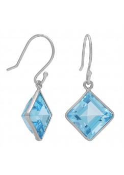 Square Blue Topaz Ear Wire 8 Cts Dangle Earrings