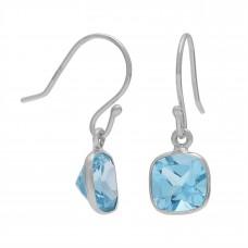 Cushion Shape Blue Topaz Ear Wire 2.5 Cts Dangle Earrings