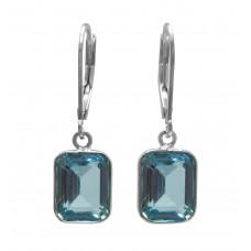 Octagon Shape Blue Topaz Ear Wire 2 Cts Dangle Earrings
