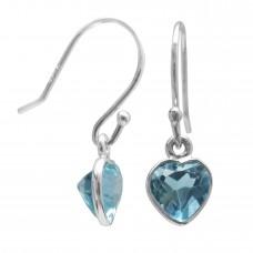 Heart Shape Blue Topaz Ear Wire 2.2 Cts Dangle Earrings