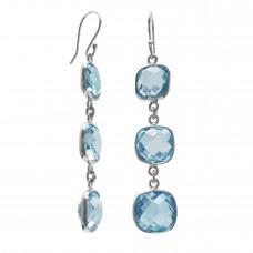 Cushion Shape Blue Topaz Ear Wire 21 Cts Dangle Earrings