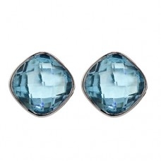 Cushion Shape Blue Topaz Push Back 16 Cts Stud Earrings