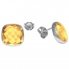 Cushion Shape Yellow Citrine Push Back 12 Cts Stud Earrings