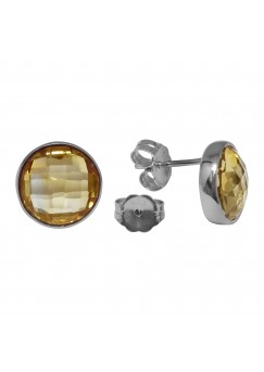 Round Yellow Citrine Push Back 6 Cts Stud Earrings