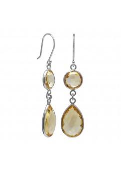 Multi Shape Yellow Citrine Ear Wire 13 Cts Dangle Earrings