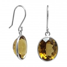 Oval Yellow Coniac Quartz Ear Wire 9.5 Cts Dangle Earrings