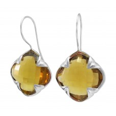 Clover Shape Yellow Coniac Ear Wire 45-50 Cts Four Leaf Style Earrings