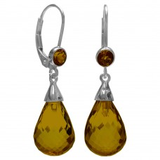Pear Shape Brown Coniac Quartz Lever Back 18 Cts Tear Drop Style Earrings