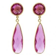 Multi Shape Pink Sapphire Push Back 40 Cts Dangle Earrings