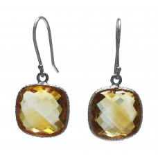 Cushion Shape Yellow Citrine Ear Wire 12 Cts Hammered Style Dangle Earrings