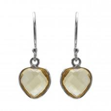 Heart Shape Yellow Citrine Ear Wire 4 Cts Dangle Earrings