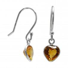 Heart Shape Yellow Citrine Ear Wire 2.15 Cts Dangle Earrings