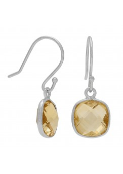 Cushion Shape Yellow Citrine Ear Wire 3.3 Cts Dangle Earrings
