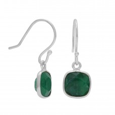 Cushion Shape Green Emerald Ear Wire 3.8 Cts Dangle Earrings