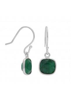 Cushion Shape Green Emerald Ear Wire 3.8 Cts Dangle Earrings