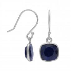 Cushion Shape Blue Corundum Ear Wire 3.8 Cts Dangle Earrings