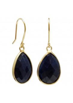 Pear Shape Blue Corundum Ear Wire 24 Cts Dangle Earrings