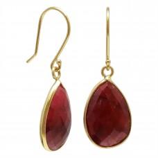 Pear Shape Red Corundum Ear Wire 24 Cts Dangle Earrings