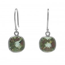Cushion Shape Green Amethyst Ear Wire 5 Cts Dangle Earrings