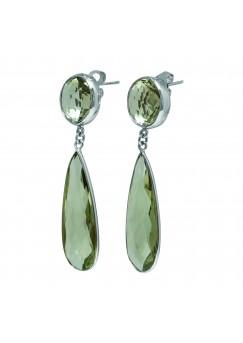 Multi Shape Green Amethyst Push Back 30 Cts Dangle Earrings