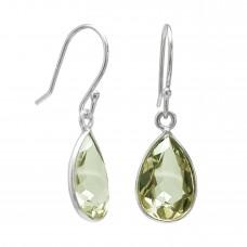 Pear Shape Green Amethyst Ear Wire 5 Cts Dangle Earrings