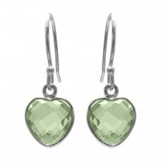 Heart Shape Green Amethyst Ear Wire 4 Cts Dangle Earrings