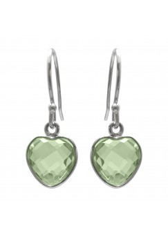 Heart Shape Green Amethyst Ear Wire 4 Cts Dangle Earrings