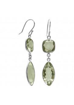Multi Shape Green Amethyst Ear Wire 18 Cts Dangle Earrings