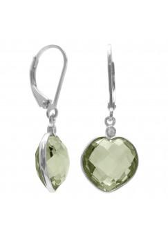 Heart Shape Green Amethyst Ear Wire 9 Cts Dangle Earrings