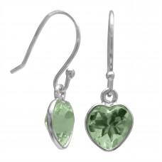 Heart Shape Green Amethyst Ear Wire 1 Cts Dangle Earrings