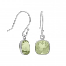 Cushion Shape Green Amethyst Ear Wire 2 Cts Dangle Earrings