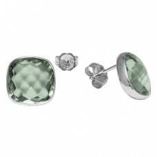 Cushion Shape Green Amethyst Push Back 12 Cts Stud Earrings