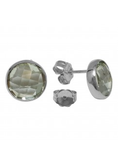 Round Green Amethyst Push Back 10 Cts Stud Earrings
