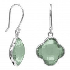 Clover Shape Green Amethyst Ear Wire 10 Cts Dangle Earrings