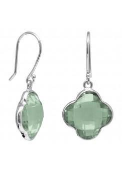 Clover Shape Green Amethyst Ear Wire 10 Cts Dangle Earrings