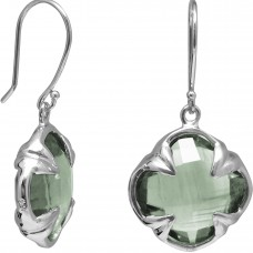 Clover Shape Green Amethyst Ear Wire 11 Cts Four Leaf Style Earrings