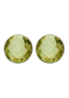 Round Greenish Yellow Lemon Quartz Push Back 10 Cts Stud Earrings