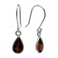 Pear Shape Red Garnet Ear Wire 1.35 Cts Dangle Earrings
