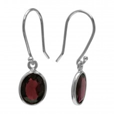 Oval Red Garnet Ear Wire 2.6 Cts Dangle Earrings