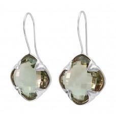 Clover Shape Green Amethyst Ear Wire 45-50 Cts Four Leaf Style Earrings