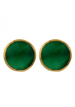 Round Green Onyx Push Back 9 Cts Stud Earrings