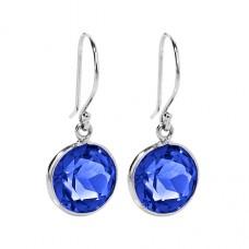 Round Blue Sapphire Ear Wire 7 Cts Dangle Earrings