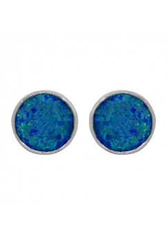Round Blue Opal Push Back 10 Cts Stud Earrings