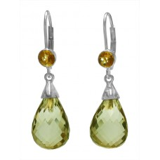 Pear Shape Greenish Yellow Lemon Quartz Lever Back 10 Cts Tear Drop Style Earrings