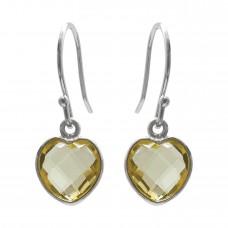 Heart Shape Yellow Lemon Quartz Ear Wire 4 Cts Dangle Earrings