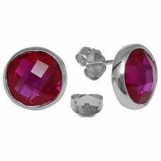 Round Pink Sapphire Push Back 10 Cts Stud Earrings