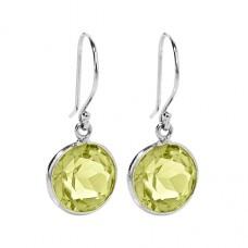 Round Yellow Lemon Quartz Ear Wire 5 Cts Dangle Earrings