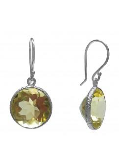 Round Yellow Lemon Quartz Ear Wire 12 Cts Dangle Earrings
